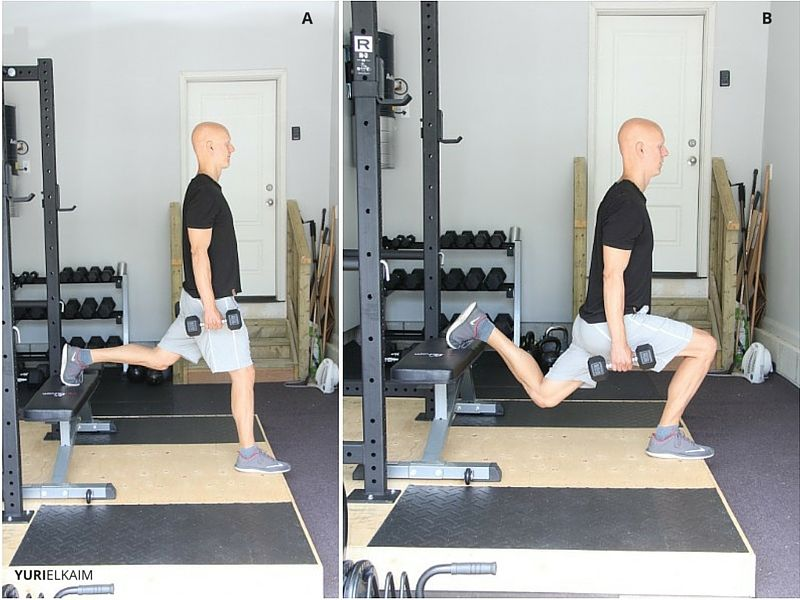 Bulgarian Dumbbell Lunge (Side View)