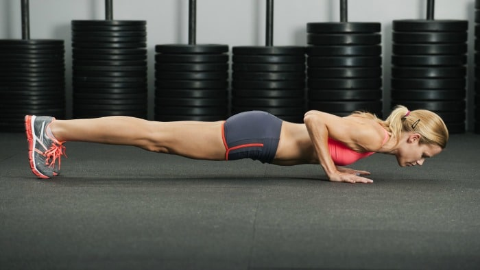 Woman performing the push-up