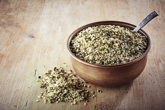 Bowl of hemp seeds