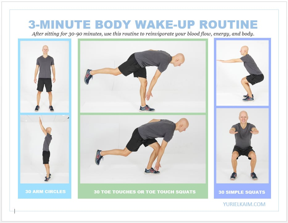 How to Stop the Deadly Effects of Sitting-- 3-Minute Wakeup The Body Routine