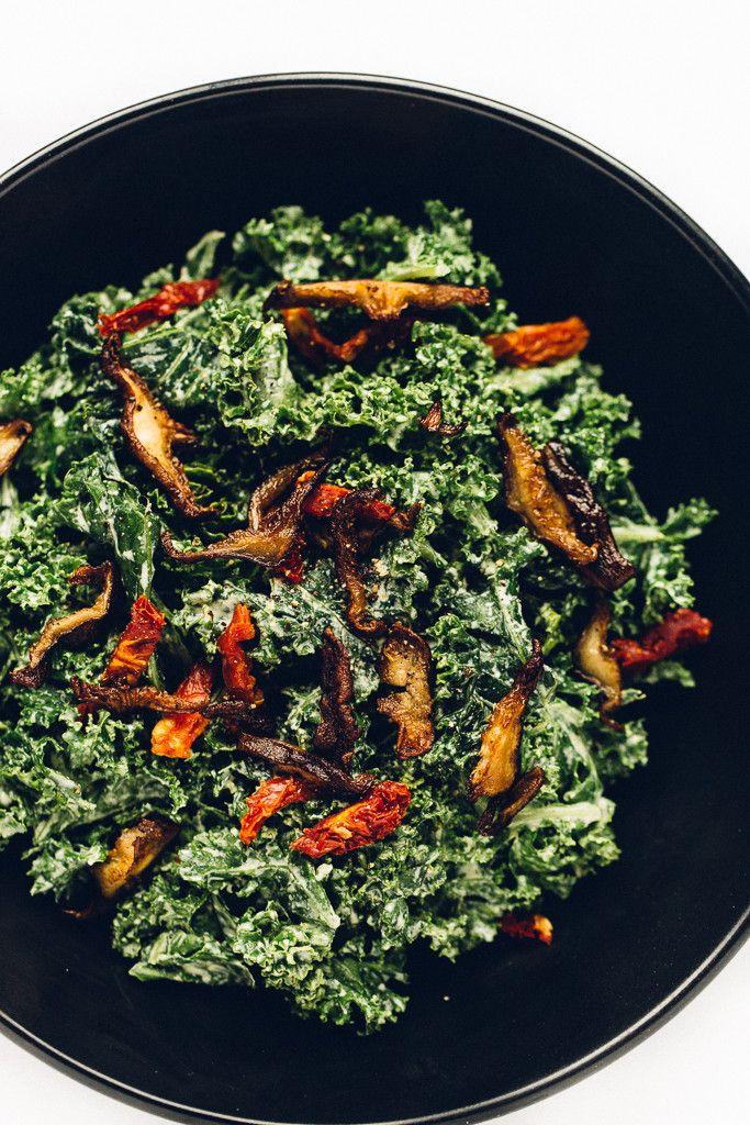 vegan-marinated-kale-caesar-salad-with-shiitake-bacon-via-blissful-basil