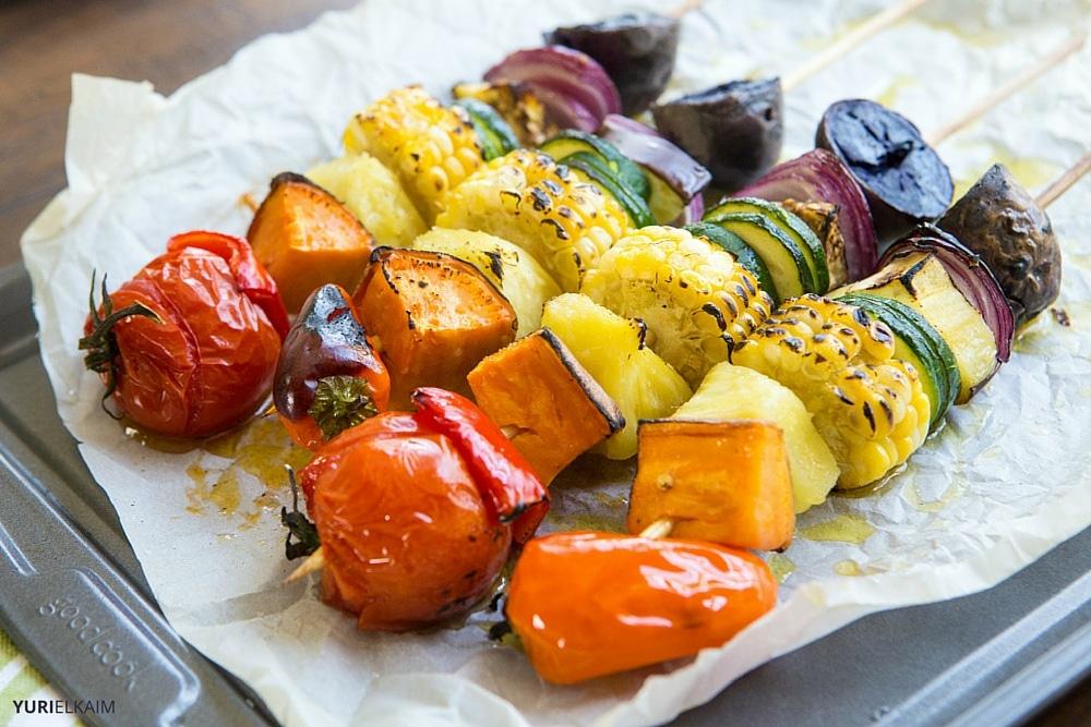 Rainbow Veggie Kabobs on the Grill