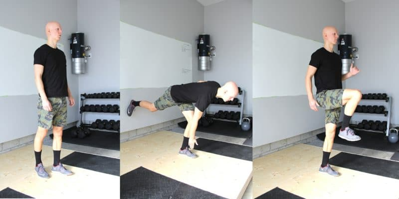 Best Glute Exercises - Toe Touch to Knee Drive Hold