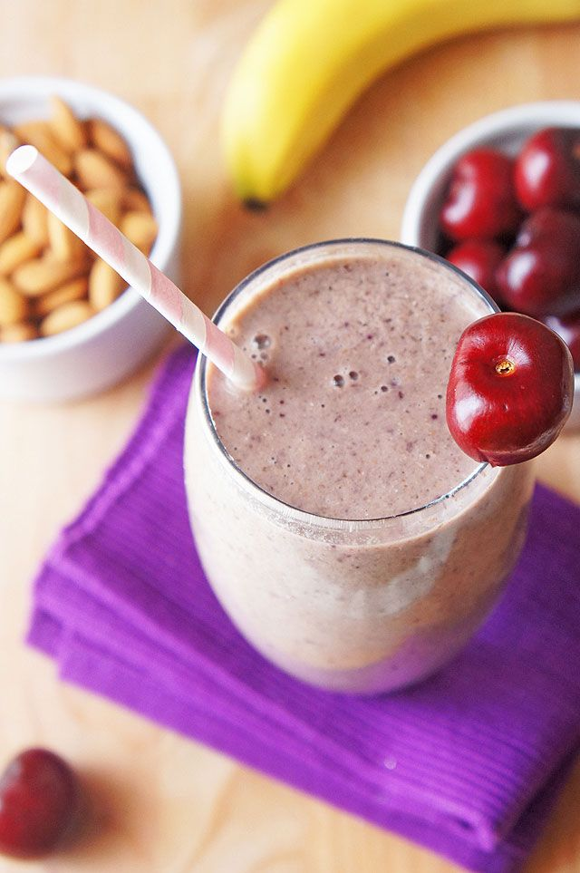 Cherry Bakewell Protein Smoothie - The Road to Less Cake