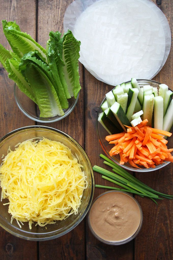 6-Ingredient Fresh Spring Rolls with Spaghetti Squash via Leelalicious
