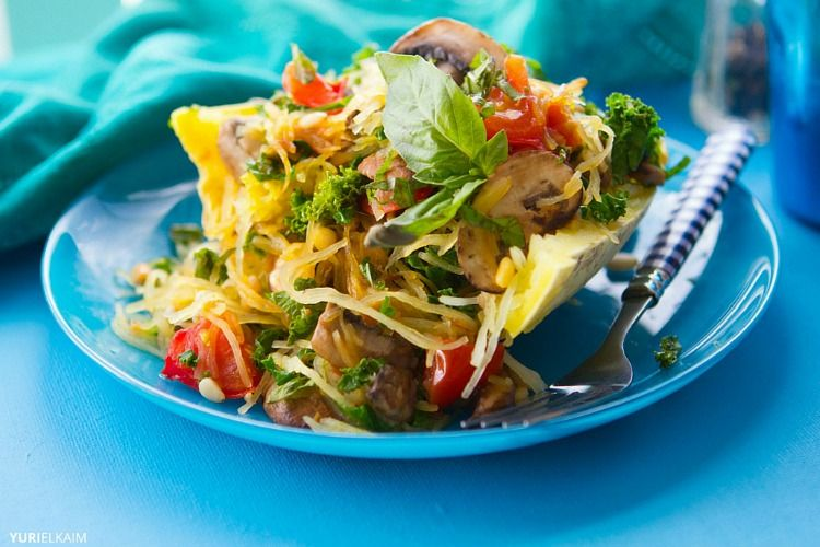 Healthy Portobello Stuffed Spaghetti Squash via Yuri Elkaim