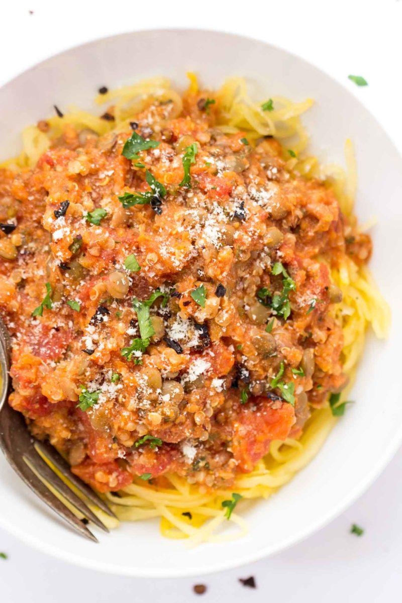Quinoa Lentil Bolognese with Spaghetti Squash via Simply Quinoa