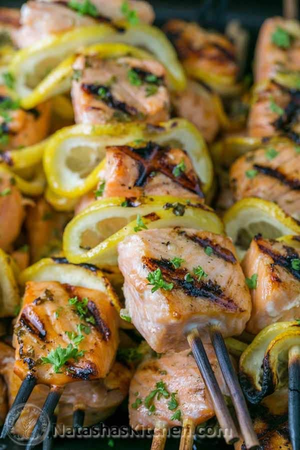 Grilled Salmon Skewers with Garlic and Dijon via Natasha's Kitchen