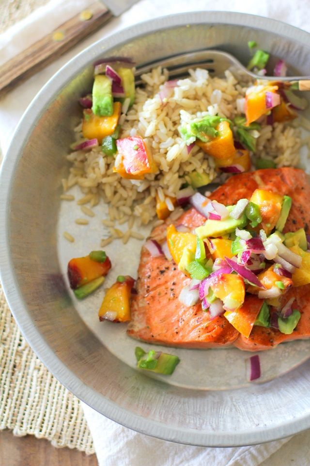 Grilled Salmon with Grilled Peach and Avocado Salsa via The Roasted Root