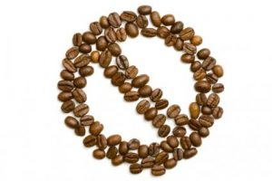 Coffee beans shaped into a do not consume sign