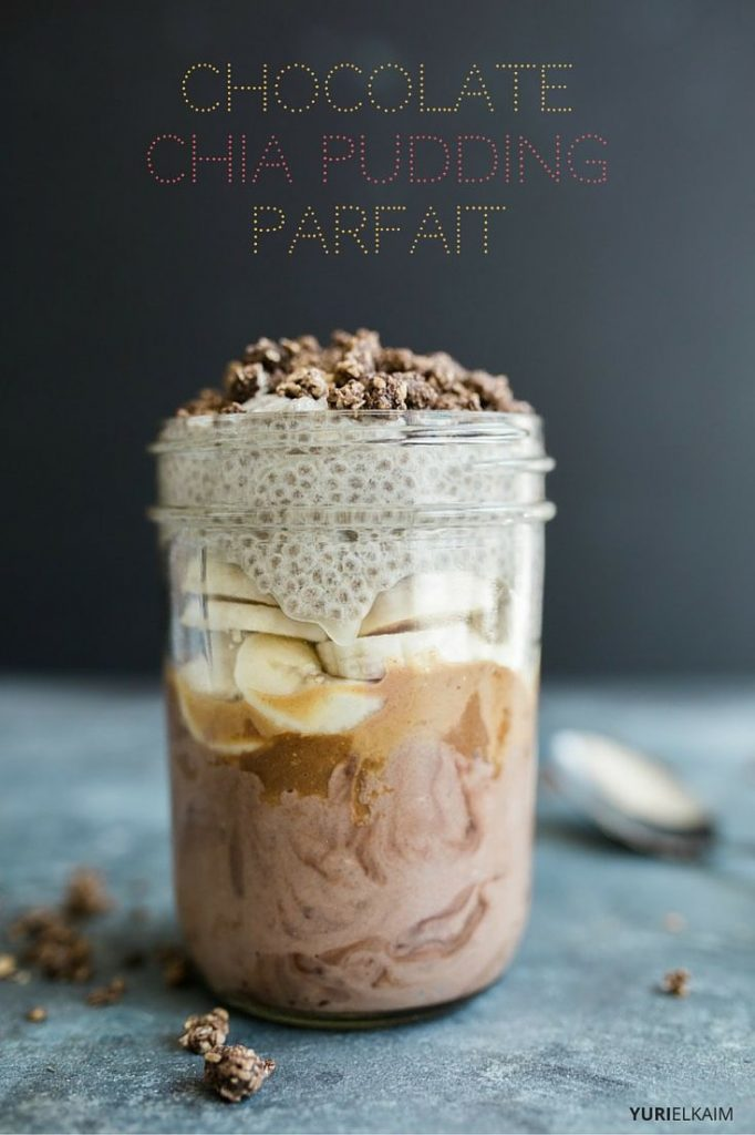 Mason Jar of Chocolate Banana Chia Pudding