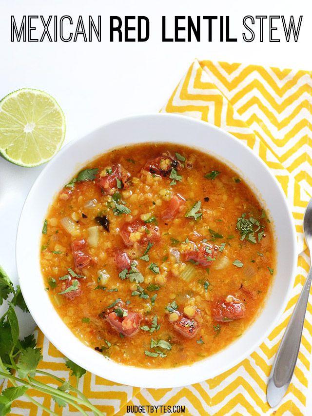 Mexican Red Lentil Stew via Budget Bytes