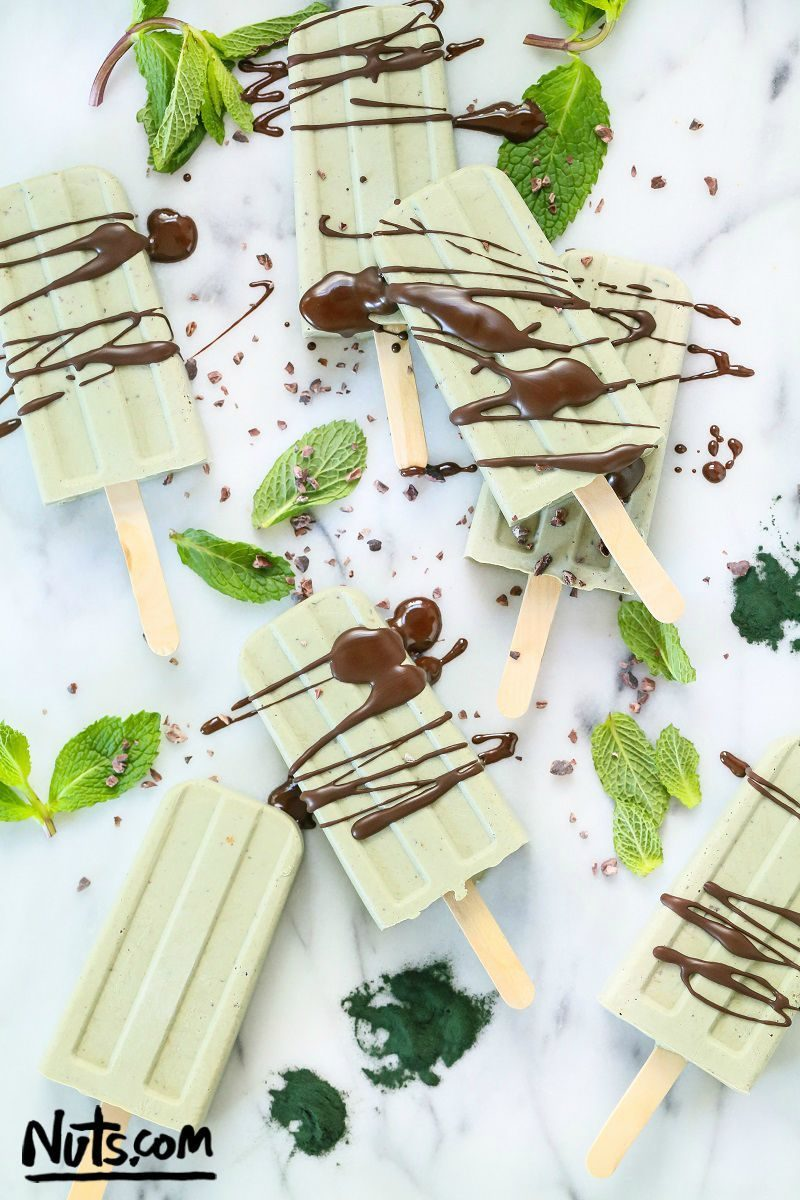 Mint Chocolate Popsicles via The Nutty Scoop