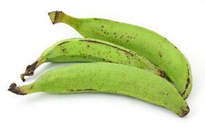 Three raw plantains