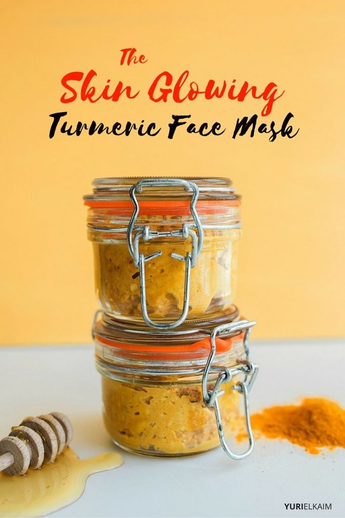Stacked jars of turmeric face mask