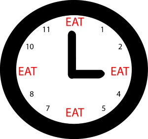Clock face displaying timed eating intervals