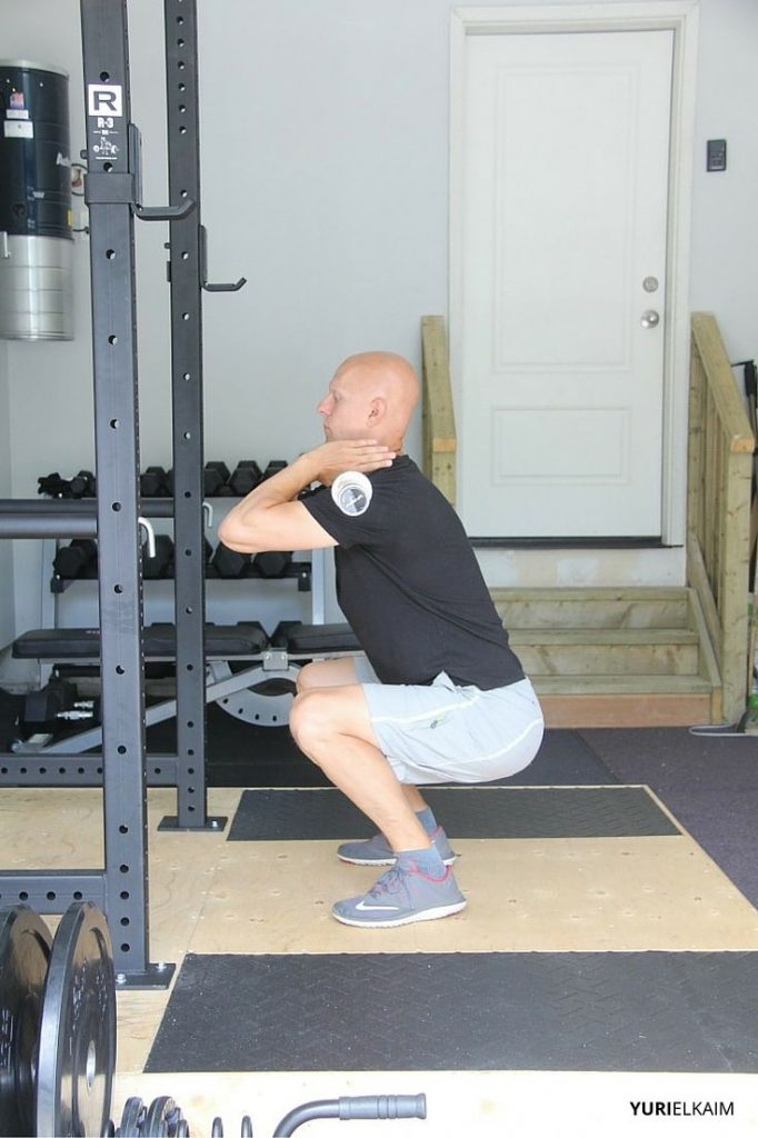 Side View of BB Front Squat - Lowered Position