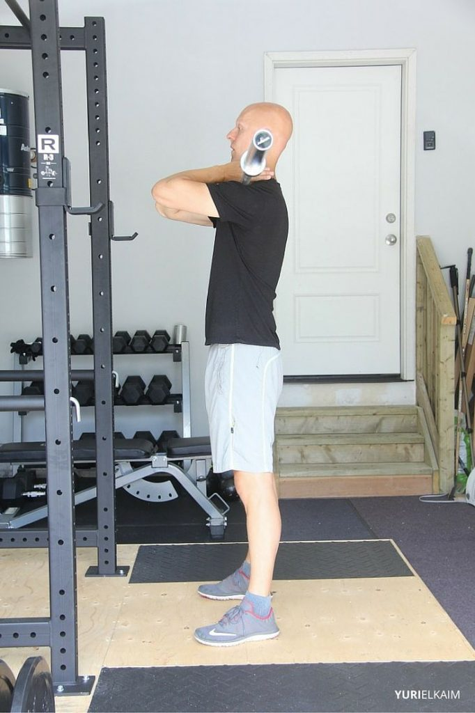 Side View of BB Front Squat - Starting Position