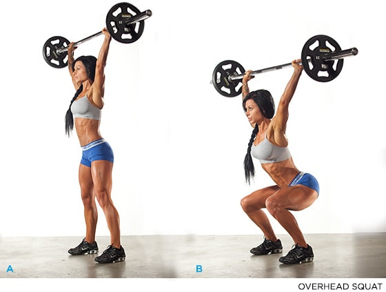 Woman performing overhead squat