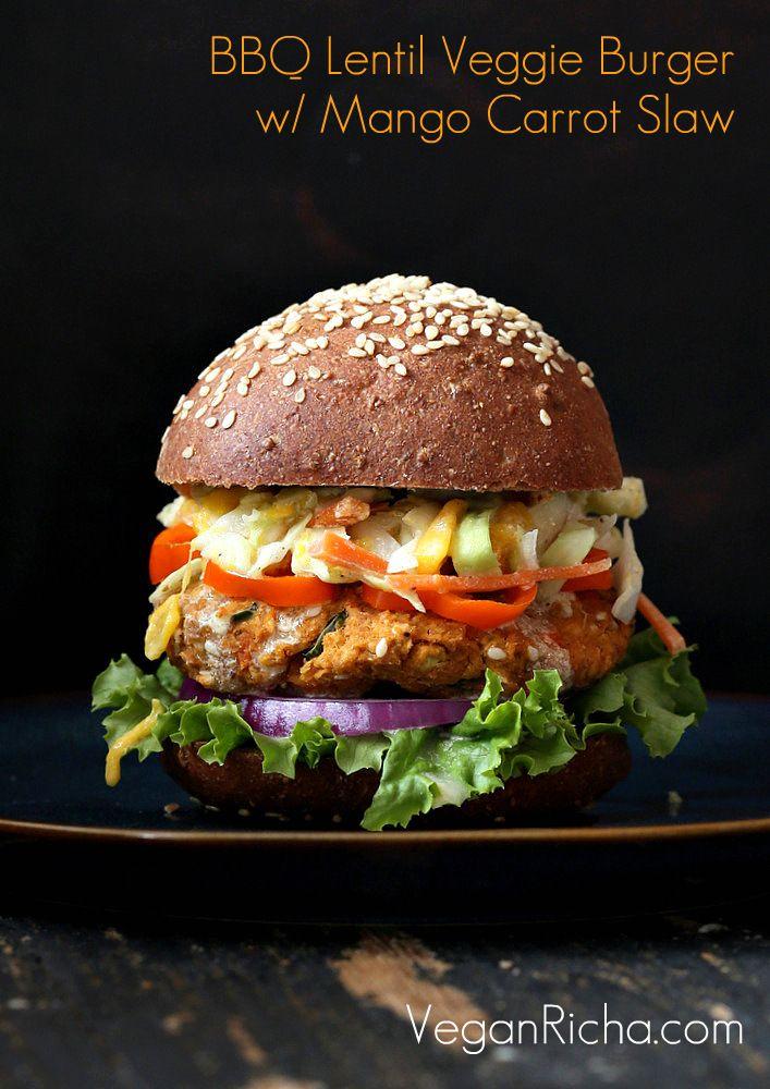 BBQ Lentil Veggie Burgers with Mango via Vegan Richa