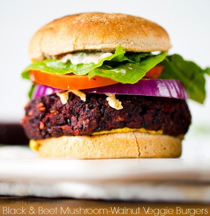 Black Beet Mushroom Walnut Veggie Burgers via Happy Healthy Life
