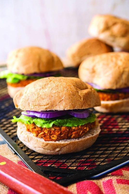 Smoky Sweet Potato Burgers via Forks Over Knives