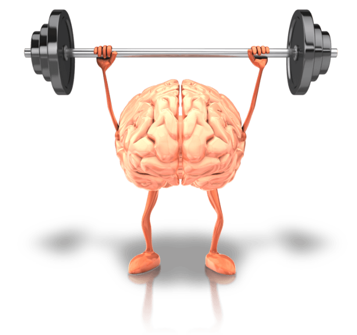 Healthy brain holding a barbell