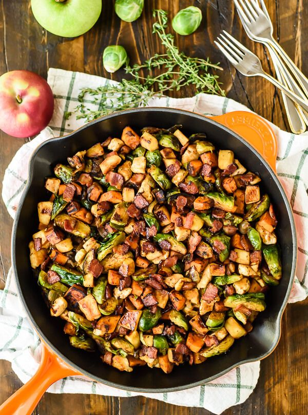 Chicken Apple Sweet Potato Brussels Sprout Skillet via Well Plated