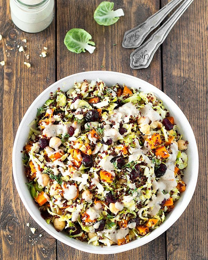 Chopped Brussels Sprout Quinoa Salad with Walnut Dressing via As Easy As Apple Pie