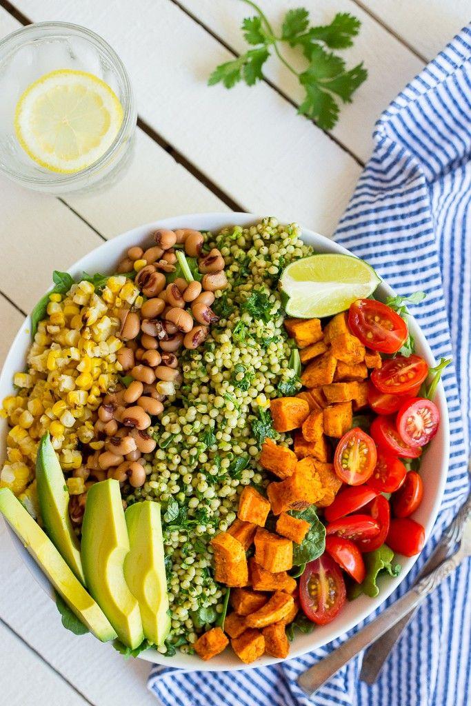 Green Sorghum Burrito Bowls with Roasted Sweet Potato via She Likes Food