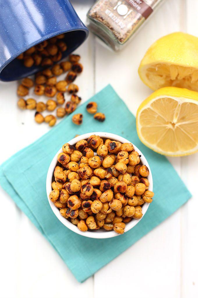 Lemon Pepper Roasted Chickpeas via The Healthy Maven