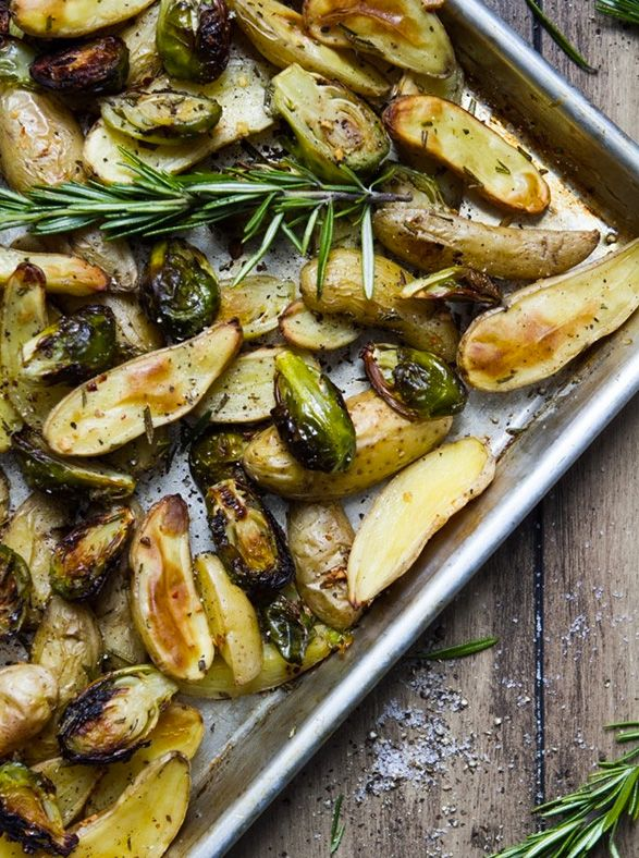Roasted Fingerling Potatoes and Brussels Sprouts via Oh She Glows