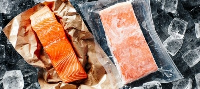 fresh and frozen salmon fillets