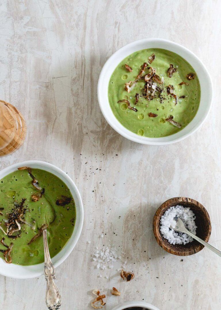 Creamy Broccoli Soup with Crispy Shallots via Running to the Kitchen