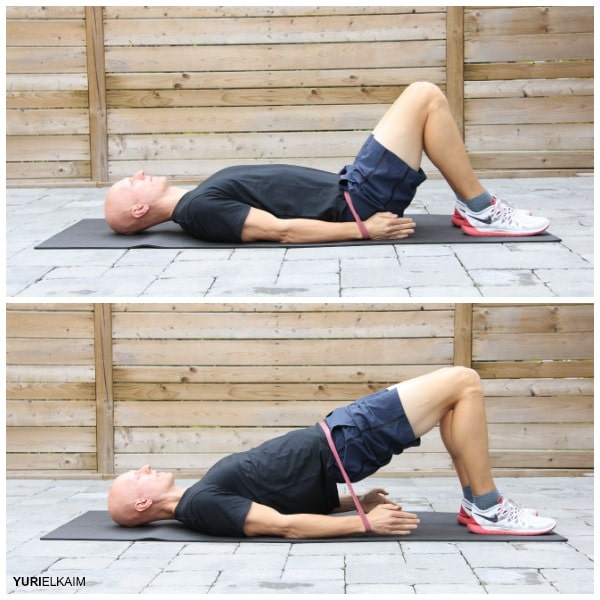 Glute Activation Exercises - Glute Bridges with Mini Band