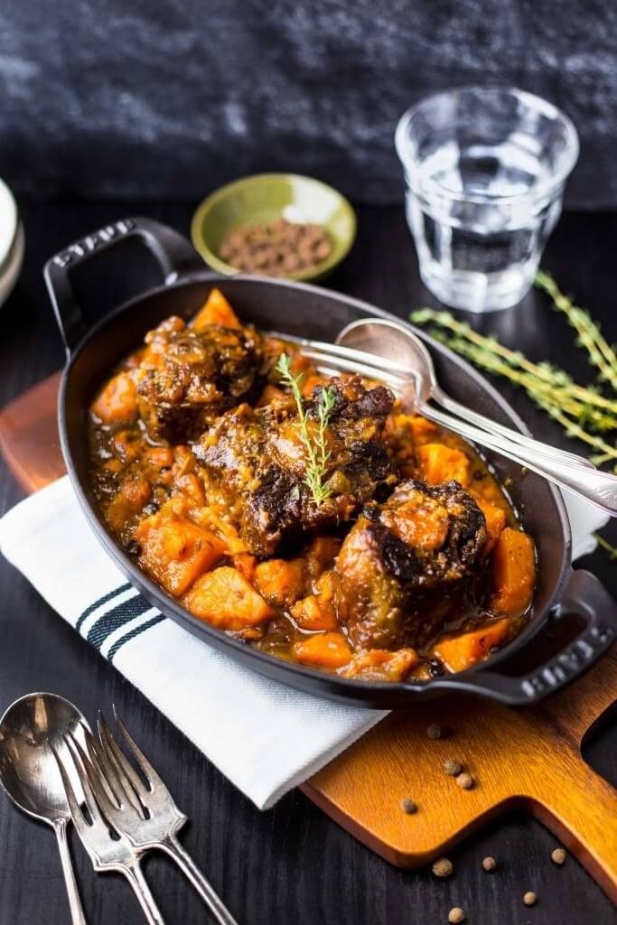 Jamaican Oxtail & Sweet Potato Stew via Primal Gourmet