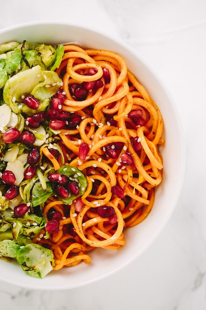 Brussels Sprouts and Sweet Potato Noodle Bowl via Inspiralized