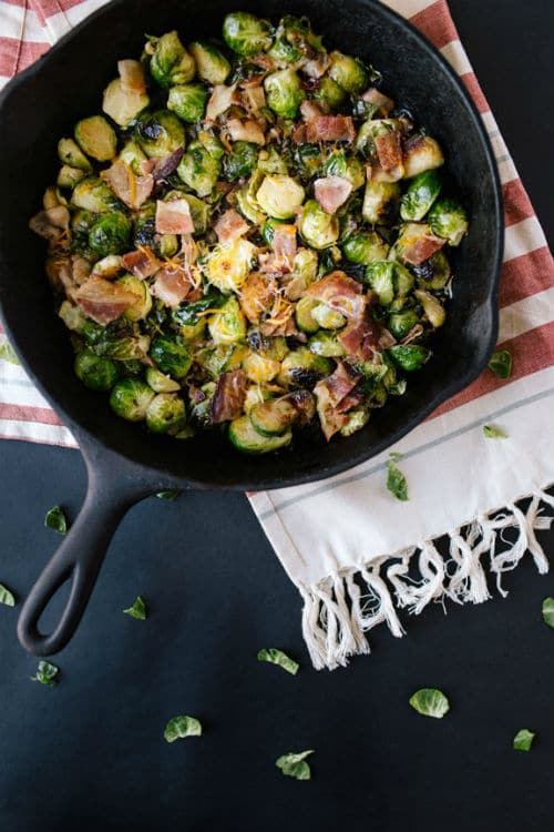 Cast Iron Skillet Brussel Sprouts via Lights Camera Catwalk