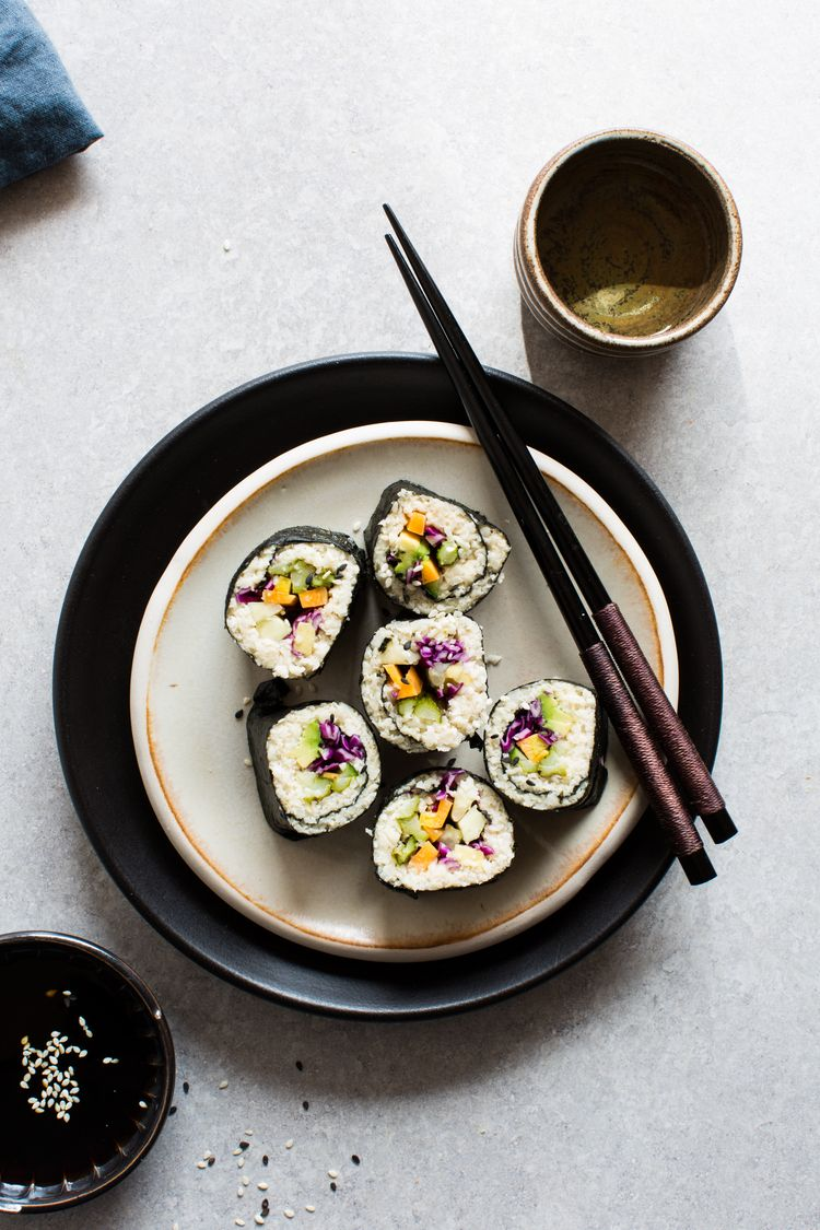 Cauliflower Rice Sushi Roll via 8th and Lake
