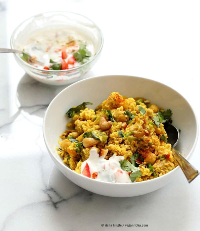 Chickpea Cauliflower Rice Biryani with Tomato Raita via Vegan Richa