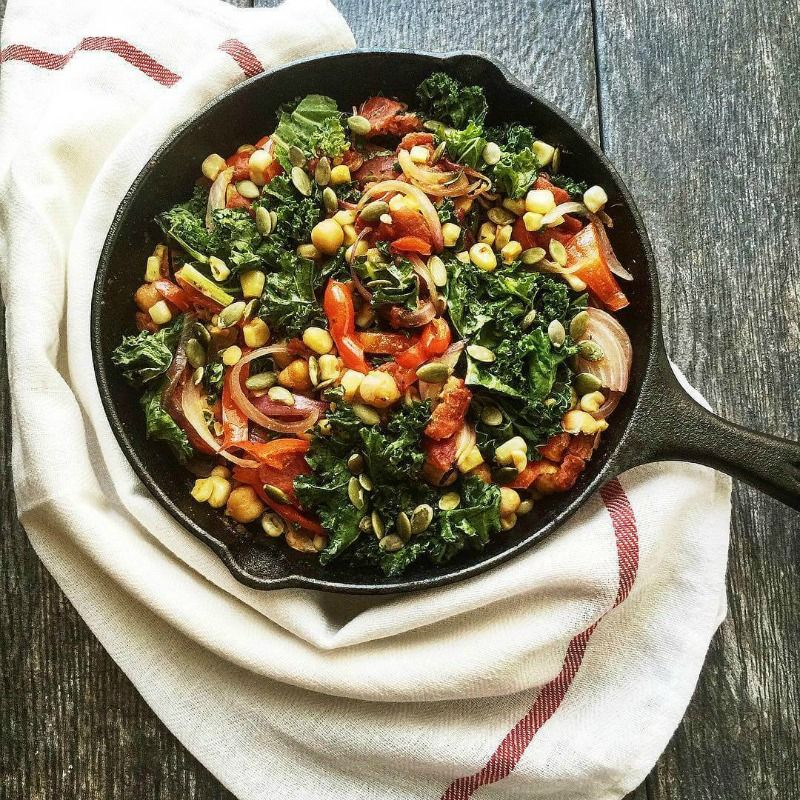 Hearty Vegetarian Skillet with Kale and Garbanzo Beans via Posh Journal