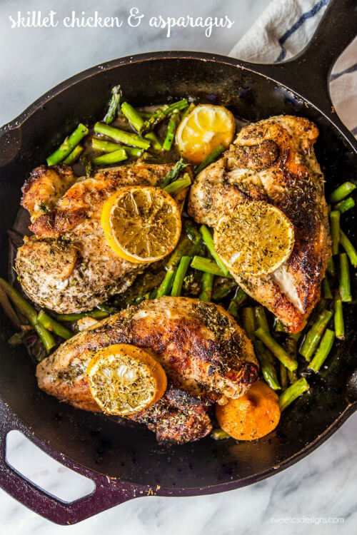 One-Pot Lemon Chicken and Asparagus via Sweet Cs Designs