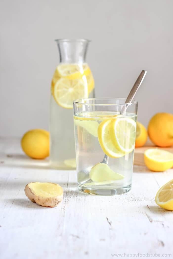 Body Cleansing Lemon Ginger Water via Happy Foods