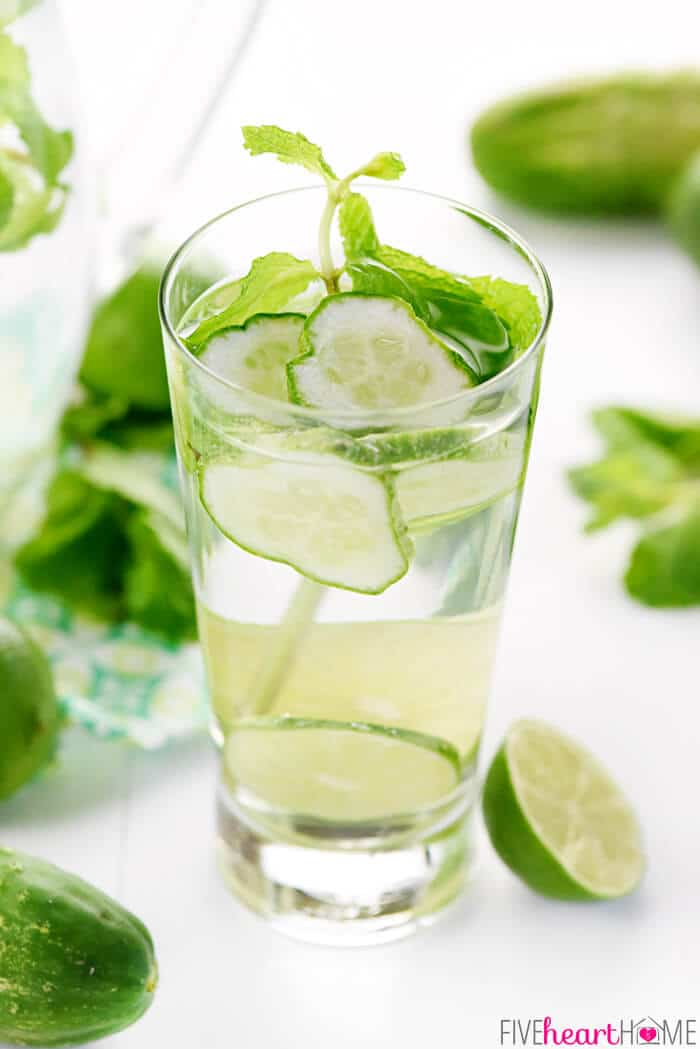 Cucumber Mint Infused Water via Five Heart Home