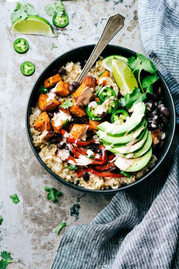 Easy Sweet Potato & Black Bean Burrito Bowls via Chelseas Messy Apron