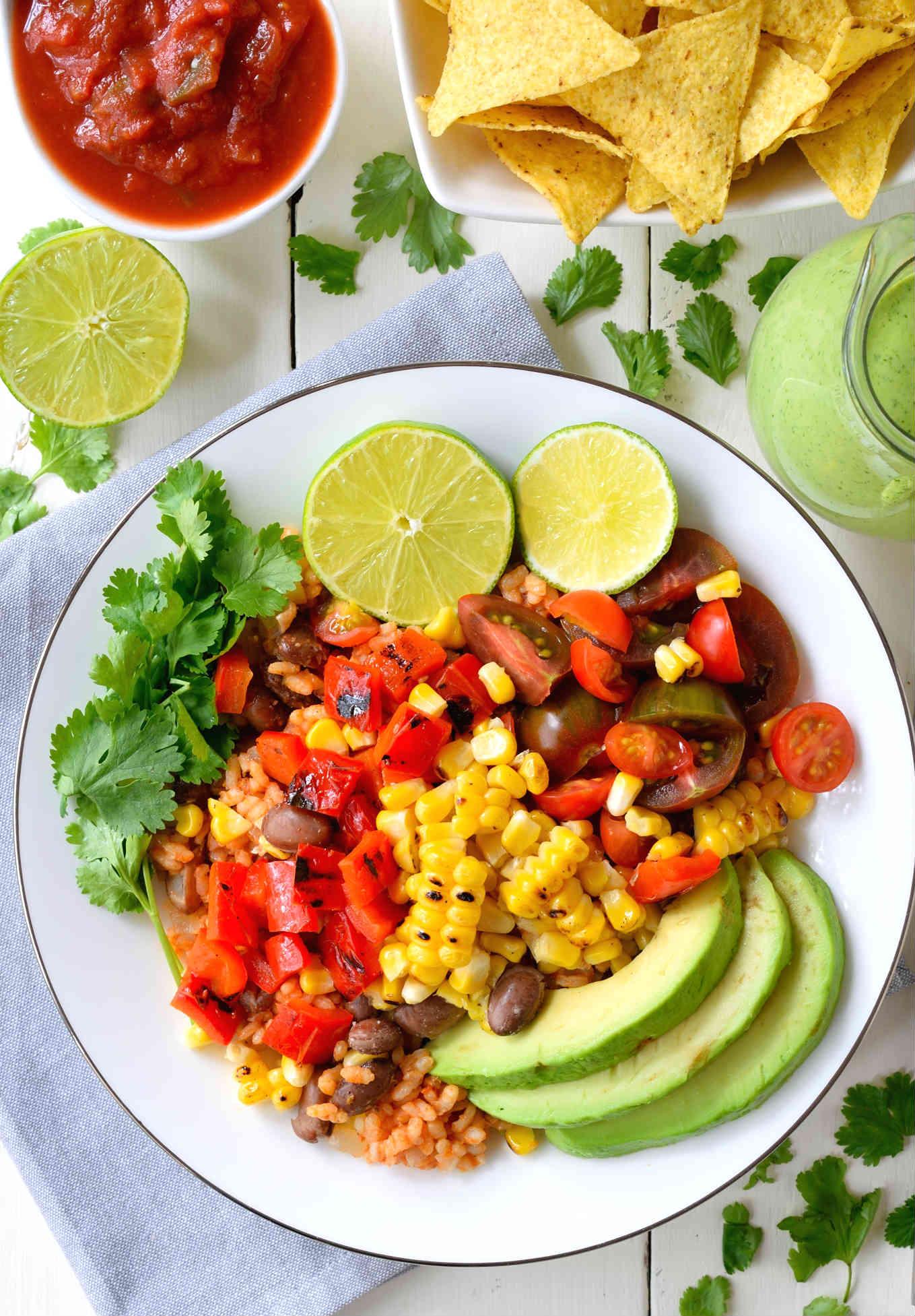 Grilled Veggie Vegan Burrito Bowl via Cilantro and Citronella