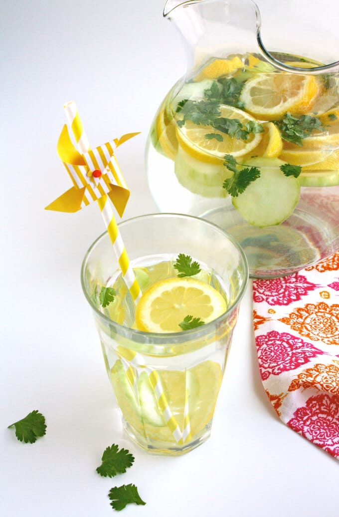 Lemon, Cucumber & Cilantro Infused Water via Grab A Plate