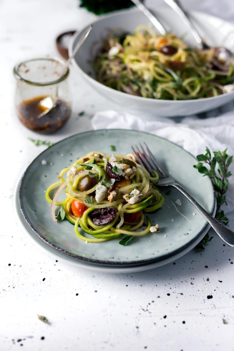 Mediterranean Spiralized Zucchini Salad with Sun-Dried Tomato Dressing
