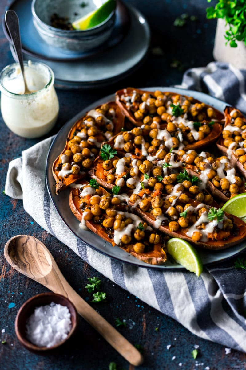 Stuffed Double Baked Sweet Potatoes with Moroccan Chickpeas