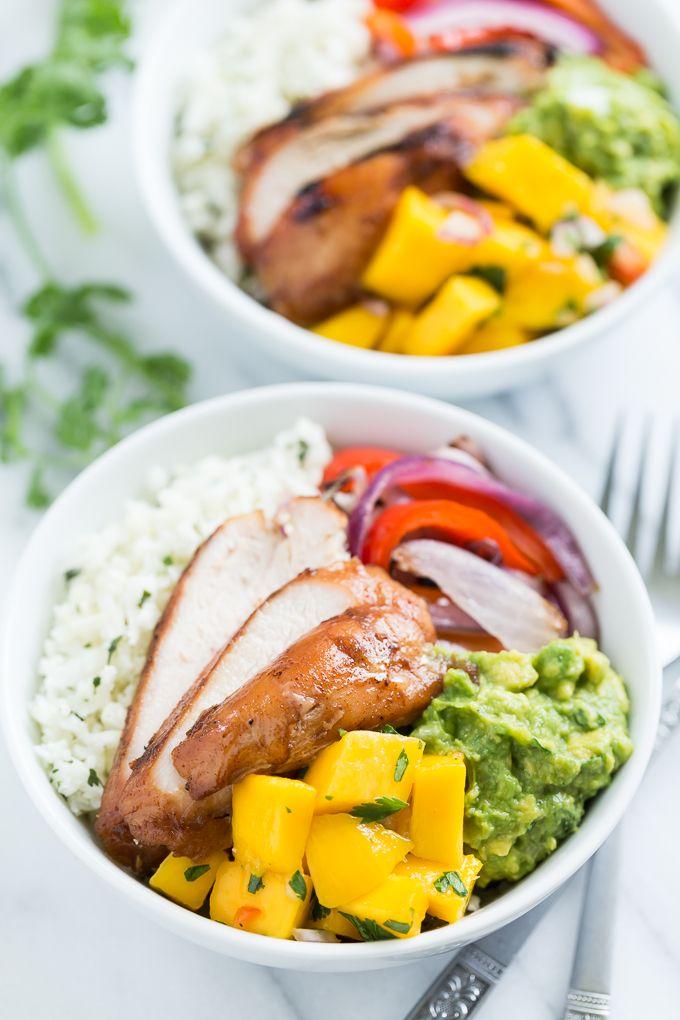 Paleo Burrito Bowls with Mango Salsa via Get Inspired Everyday